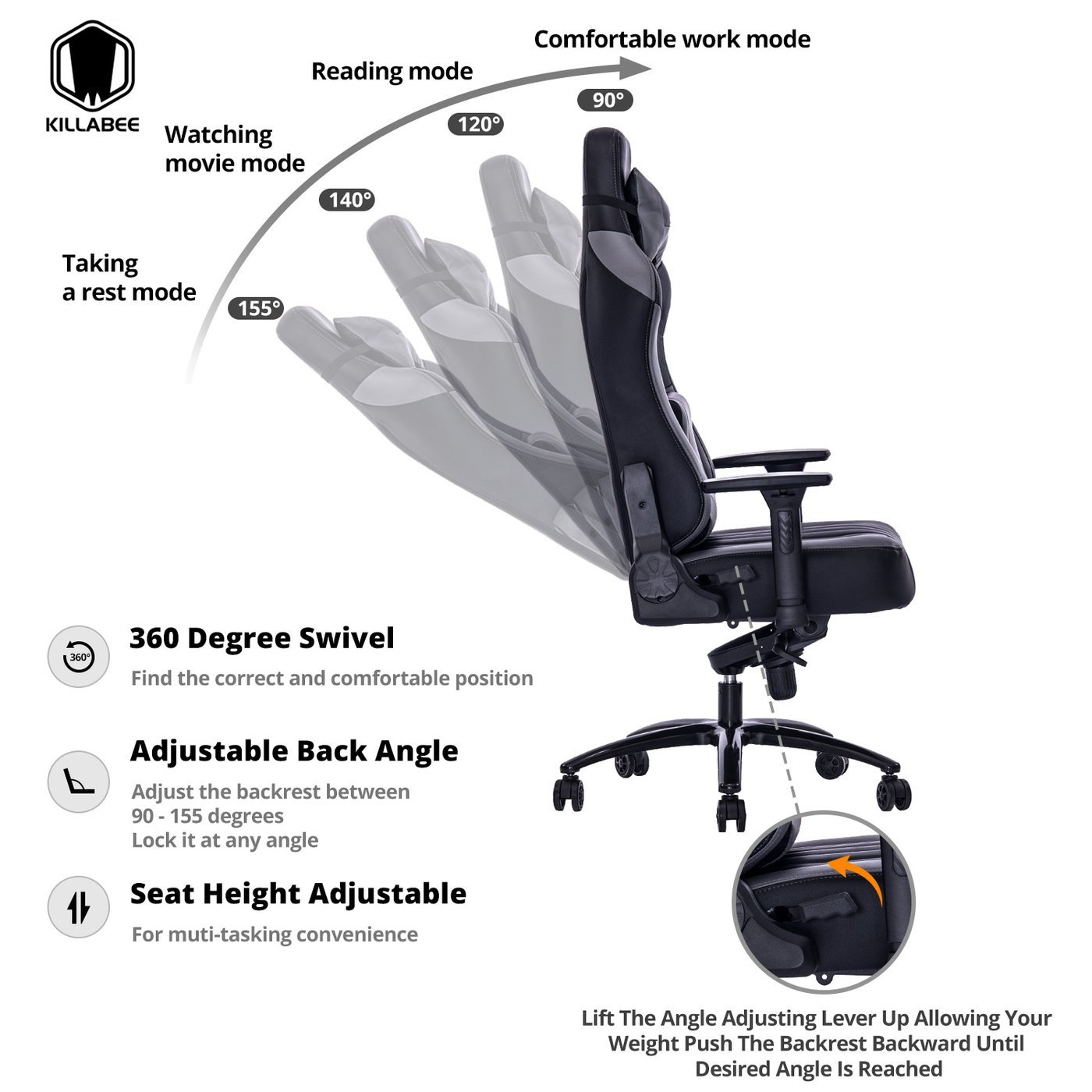 killabee gaming chair reclinable